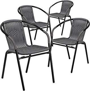 Flash Muebles 4 PK. Gray Indoor-Outdoor Restaurante Pila Silla de ratán