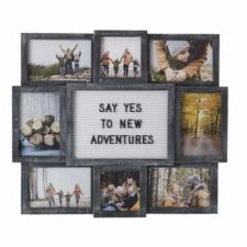MELANNCO Customizable Letter Board with 8-Opening Photo Collage